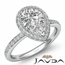 Vintage Style Pear Diamond Engagement Ring GIA I Color SI1 14k White Gold 2 ct