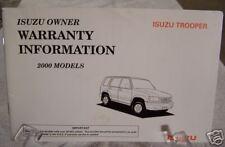 **NEW** 2000 Isuzu Trooper Warranty Manual 00