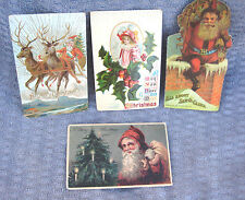 3 Antique 1907 1910 Early 1900's Embossed Germany CHRISTMAS POSTCARDS w/ Stamp +