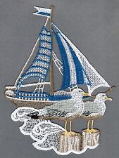 """Fensterbild Plauener Spitze ®  """"Segelschiff"""" 6-farbig Fensterdekoration NEU"""
