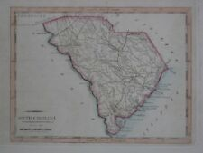 Original 1805 Matthew Carey Map SOUTH CAROLINA Roads Charleston Camden Beaufort