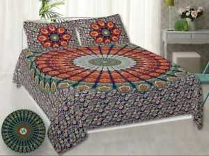 Mandala Print King Size Cotton Flat Bed Sheets With 2 Pillow Cases Hand Made MF