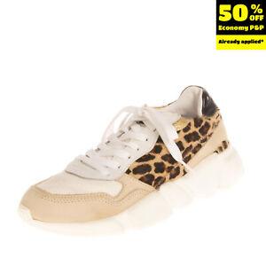 RRP €160 SERAFINI Leather & Calf Hair Sneakers EU 36 UK 3 US 6 Leopard Pattern