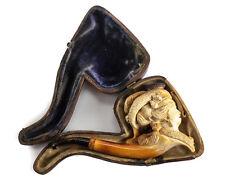Continental Meerschaum Tobacco Smoking Pipe & Case, 19th C. Female Figural Head