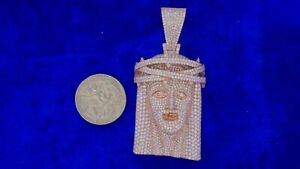 Pink Gold Jesus Pendant 1570 Díamonds Honeycomb Setting WE DO CUSTOM JEWELRY