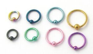 Anodised BCR Horseshoe Ring Hoop Nose Lip Ear Stud Tragus Helix Body Piercing