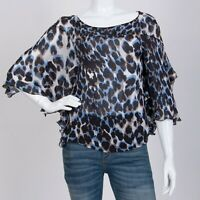 Roberto Cavalli Women's Silk Blouse Blue Italy Size 38 Shirt Top Brwon White