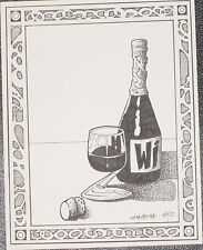 STILL LIFE WINE GLASS BOTTLE PEN AND INK