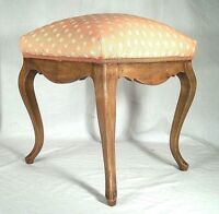 VINTAGE EARLY 20th CENTURY CURVED LEG LOUIS XV UPHOLSTERED FOOTSTOOL