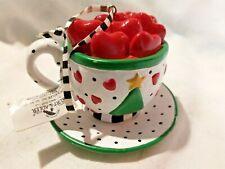 Mary Engelbreit Hearts Tree Cup and Saucer Christmas Ornament Kurt S Adler