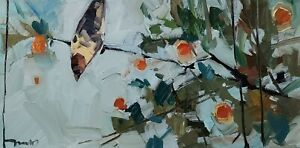 JOSE TRUJILLO Oil Painting IMPRESSIONISM BIRD FLORAL CONTEMPORARY ARTIST NR