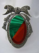 Vintage Sterling, Marcasite, Malachite & Carnelian Sheild Bow Pin Brooch~PRETTY!