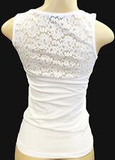 Womens / Juniors Lace Back Tank-Top Basic Fashion Small Stretch Plain White