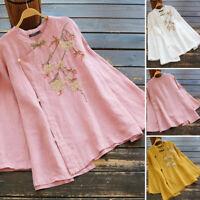 ZANZEA Women Linen Cotton Retro Button Down Tops Ethnic Embroidered Shirt Blouse