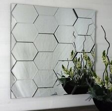 Large square abstract honeycomb wall mirror 80CM