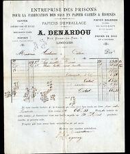 """LIMOGES (87) USINE de PRISON , SACS & PAPIERS d'EMBALLAGE """"A. DENARDOU"""" en 1880"""