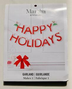 New! Martha Stewart Red Sparkle Christmas Happy Holidays Garland Kit