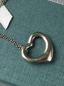 """Authentic Tiffany & Co Elsa Peretti Open Heart Necklace Pendant 925 Silver 16"""""""