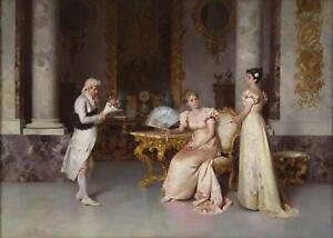 Francesco Beda Antique Fine Oil Painting Genre Interior Figures Signed