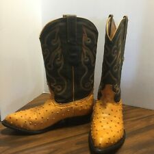 Los Altos Mens Western Boots Leather Ostrich Print Hand Crafted Pointed Toe 10EE