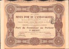 MINES d'OR de l'ANDAVAKOERA (MADAGASCAR) (U)