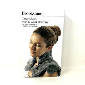 Brookstone TheraSpa Herbal Hot & Cold Neck and Shoulders Wrap Gray Aromatic