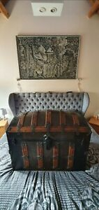 Rare Antique Steamer Trunk Chest 1800s Not Louis Vuitton. Lined and Stunning