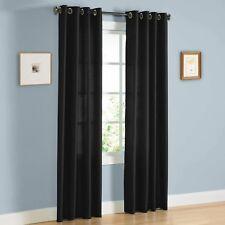 "Faux Silk Window Treatments Curtains Drape Grommets 63""95"" 84"" 108"" Black mira"