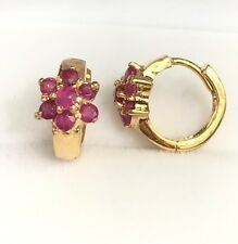 14k Solid Yellow Gold Kids Small Flower Hoop Earrings, Natural Ruby. 2.70 Grams