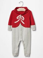 GAP Baby Boy / Girl Size 3-6 Months Red Bow Festive One-Piece Sweater Romper