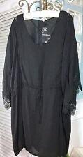NEW~Plus Size 2X Black Lace V-Neck Tunic Top Dress Blouse Topper