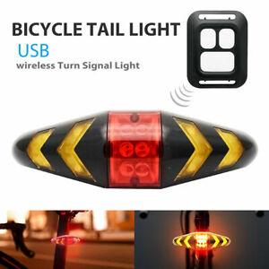Bicycle LED Indicator Bike Rear Tail Laser Turn Signal Light Wireless Remote UK