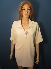 Plus Size 30/32W cream LACED UP COLLAR blouse by FASHION BUG