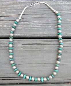 TURQUOISE AND SILVER BEAD NAVAJO NECKLACE