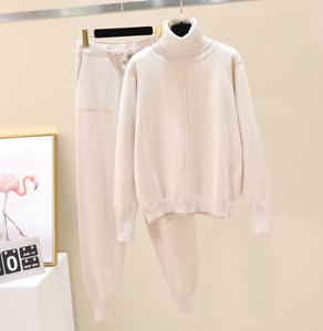 Womens Cashmere Knitted Turtleneck Sweater Pants 2Pcs Casual Knitwear Suit Zha19
