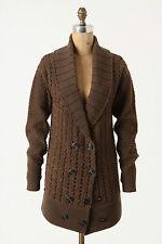 Anthropologie Brown Beaded Cardigan Long Cardi Sweater Jacket By Leifsdottir, XS