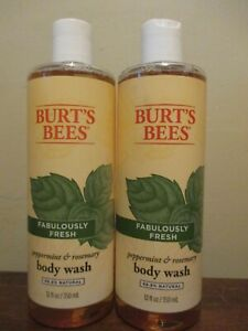 2x Burt's Bees body wash peppermint & rosemary 12 oz 99.9% Natural Fresh