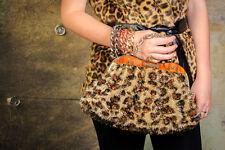 Style vintage imprimé léopard fourrure synthétique pochette synthétique Lucite Frame Clutch Bag