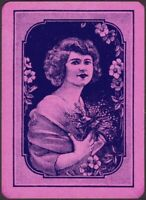 Playing Cards 1 Single Card Old Antique Wide GIRL LADY + FLOWERS Art Portrait B