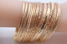 Metal Braid Shape Multilayered Bangles Set - Gold & Silver Options