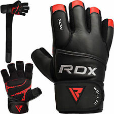 RDX Weight Lifting Gloves Fitness Gym Training 100% Leather Bodybuilding Workout