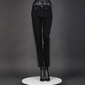 ALEXANDER MCQUEEN 990$ Jeans In Black Cotton With Logo Embroidery And Stripes