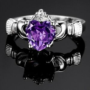 Silver Plated Claddagh Heart With Purple Cubic Zirconia Ring Various Sizes