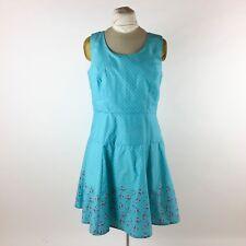 Eshakti Womens Blue Floral Dress Sz 16 50s Style Fit & Flare Pink Turquoise