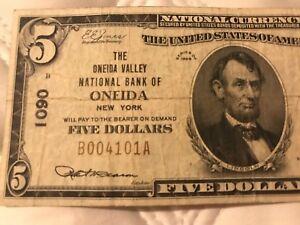 1929 $5 Oneida New York NY National Currency Ch 1090 Oneida Valley Natl Bank