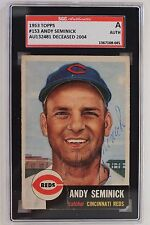 Andy Seminick (d.04) Reds Autographed 1953 Topps #153 Signed SGC JSA Authentic
