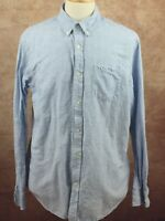 Banana Republic Slim Fit Cotton Linen Long Sleeve Blue Stripe Shirt Men's XL