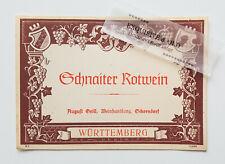 Schnaiter Rotwein August Grill Weinhandlung Schorndorf Weinetikett Ephemera