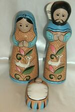 New! Wisteria Mexican Pueblo Large Nativity Mary Jesus Joseph 3 Pc Set $369