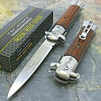 "9"" TAC FORCE MILANO STILETTO TACTICAL WOOD SPRING ASSISTED FOLDING KNIFE Pocket"